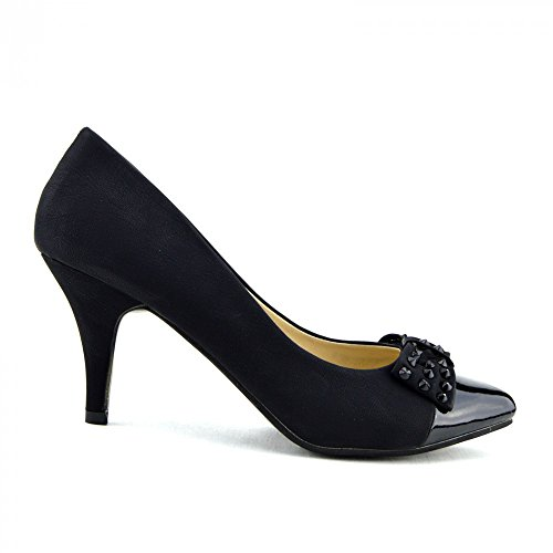 Kick Footwear - Donna Classic Kitten Heel Per L'Ufficio, Da Sera Nero Scarpe Nero