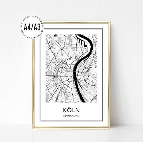 Poster Karte KÖLN, Stadtplan, City Map, Kunstdruck, Print, Wandbild, schwarz weiss, minimalistisch, modern, Format: DIN A4 / DIN A3