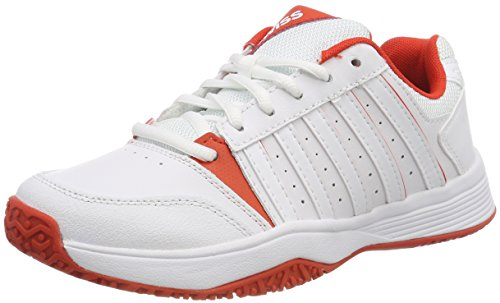 K-Swiss Performance KS Tfw Court Smash Omni, Scarpe da Tennis Unisex-Bambini, Bianco (White/Fiesta 01), 35 EU