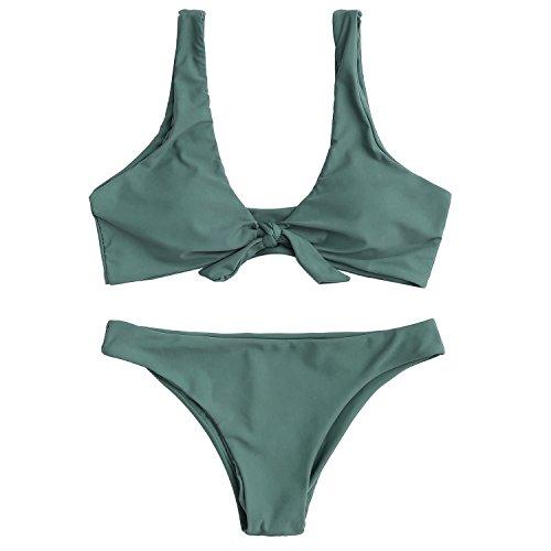 Kata costume da bagno bikini donna sexy due pezzi mare alta vita swimwear(verde1,l)