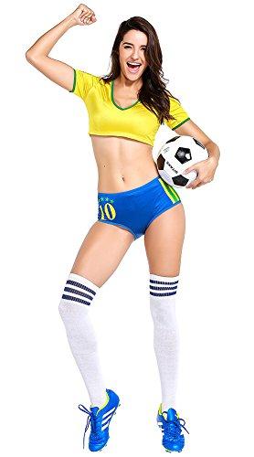 erleader Kostüm damen Mode Kreative Welt Cup Nationalflagge Farbe Cheerleader Kostüm Fußball Baby Sexy Leistung Uniform mit Strümpfe - Brasilien Brazil (Brasilien Kostüme)