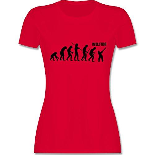 Evolution - Cricket Evolution - tailliertes Premium T-Shirt mit Rundhalsausschnitt für Damen Rot