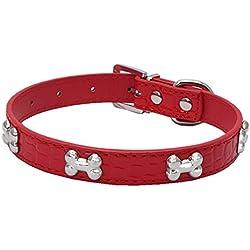 Gusspower Collares para Perros Forma de Hueso Mascota Collar de Perro Cuero de LA PU Collar de Correa de Gato Cachorro Ajustable