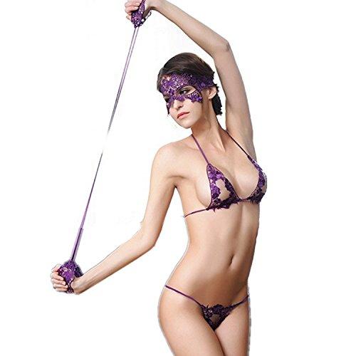 Damen Sexy Dessous Sets Hohle Nachtwäsche Negligee Spitze Babydoll Reizwäsche Lingerie Einschließlich Maske (Masken Doll)