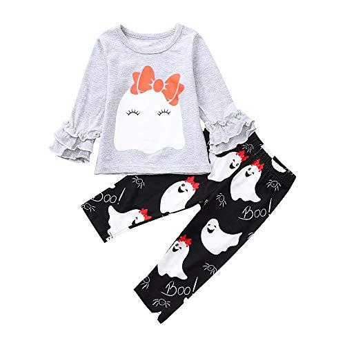 Baby Kinder Mädchen Langarm Geist Karikatur Shirt Pullover Tops und Druck Hosen Set Halloween Kostüm Verkleidung Karneval Party von Innerternet