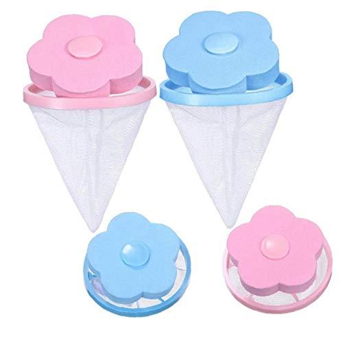4Pcs / Set Lint Netztasche Für Waschmaschine Wiederverwendbare Wäscherei Schwimm Lint Mit Blume Geformt Convenient Filter Mesh-Taschen
