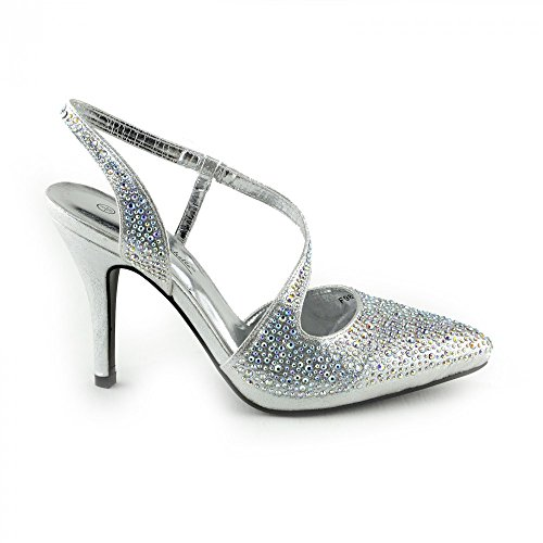 Kick Footwear Ladies Gold Silver Wedding Sandals Silber