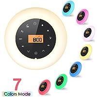 MLITER Digital Sunrise Réveil chevet réveiller la lumière avec Radio FM, Snooze, 7 couleurs de la lampe, 8 sons naturels doux de bruit blanc, 3,5 mm AUX In Jack & port de charge USB - Travailler avec la batterie ou la prise