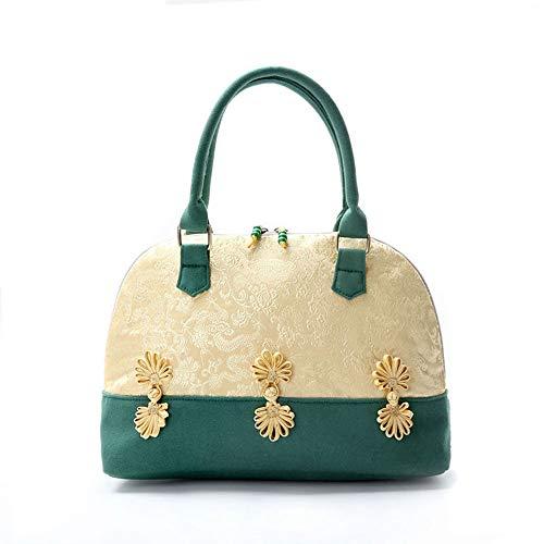 XMYL Nationaler Stil Handtasche,Gestickte Canvas Tasche Elegantes Design Top Griff Mode Damen Cheongsam Tasche,30 * 24 * 13cm,Green - Canvas Gestickte Handtasche