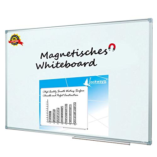 Lockways Whiteboard - Magnetisch Stabiler Tafel - praktische Weißtafel 90 x 120 cm, silbrig Metall Rahmen für Schule, Wohnung und Büro