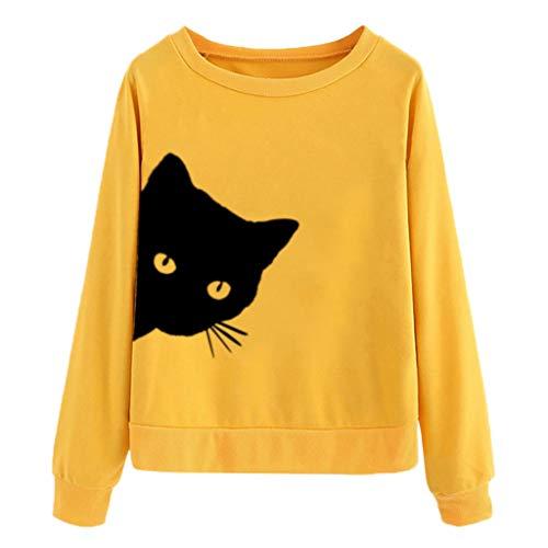 Sanahy Bluse Damen Langarm Shirts Damen Top Oberseiten Bestickt Katze Drucken Rundhalsausschnitt Lange Ärmel Shirt Blusen Pullover Sweatshirt -