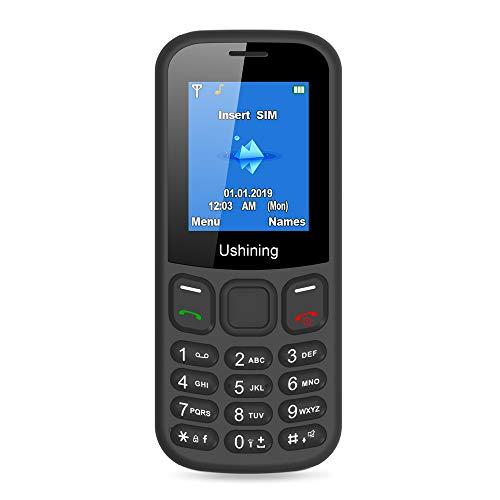 Ushining Teléfono Móvils Basico, Teléfono Móvil para Personas Mayores Teclas Grandes con Tapa Pantalla de 1,8 Pulgadas (Marcación Rápida, Dual SIM, Cámara, Reproductor MP3) - Negro