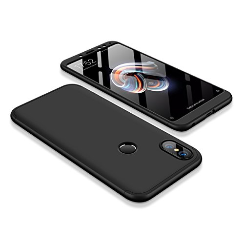 Preisvergleich Produktbild Handyhülle für Xiaomi Redmi Note 5 Pro ,ERLI 3 in 1 Ultra Dünn 360°Full Body Schutz Schutzhülle ,Panzerglas Displayschutzfolie für Xiaomi Redmi Note 5 Pro , Anti-Kratzer Elegant Stoßfest Hart PC Skin Rückdeckel Glatte Rückseite Bumper tasche für Xiaomi Redmi Note 5 Pro (Schwarz)