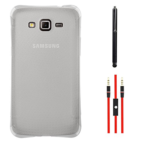 DMG Ultra Thin Flexible TPU Extra Protection and Grip Back Cover Case For Samsung Galaxy Grand 2 G7102 (Clear) + AUX Cable + Stylus