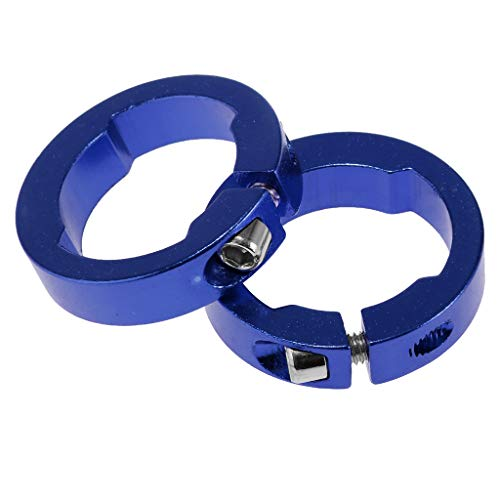 Baoblaze 1 Paar Aluminium Bicycle Grips Ring Fahrrad Lenker Grips Lock Ringe - Blau -