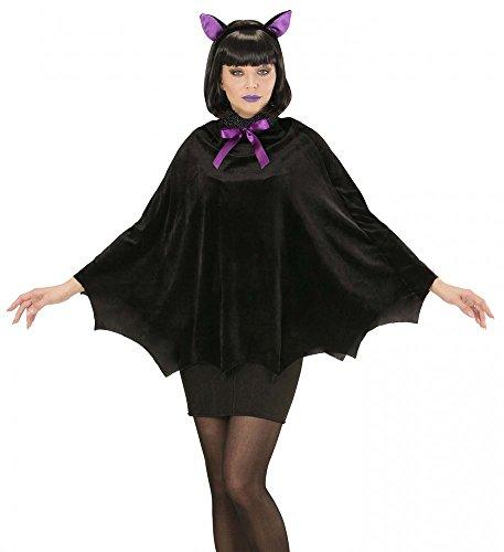 Umhang und Ohren für Erwachsene Schwarz/Lila Halloween Vampir Kostüm Zubehör (Fledermaus Ohren Kostüm)