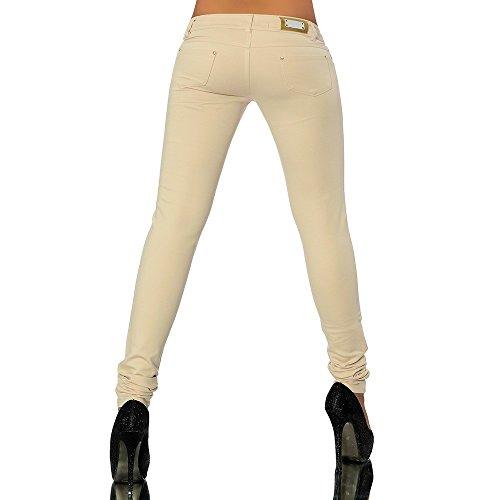 G701 jean pour femme, look tube leggings treggings skinny pantalon leggings hauteur Beige - Beige
