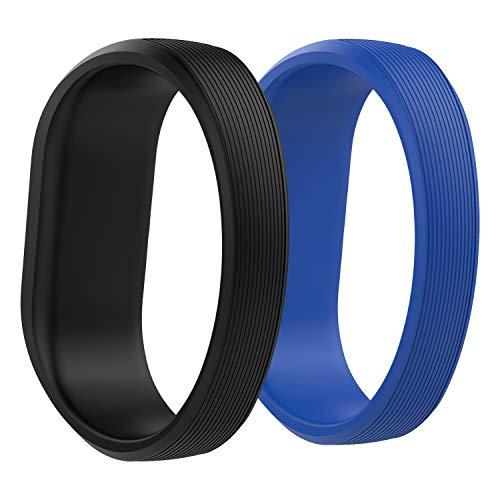 """MoKo Armband Kompatibel für Vivofit JR/Vivofit JR 2/Vivofit 3, 2 Stück Silikon Replacement Uhrenarmband Sportarmband Band Erstatzband mit Schließe Ersatz, 5.74\""""-6.69\"""" - Schwarz & Königsblau"""