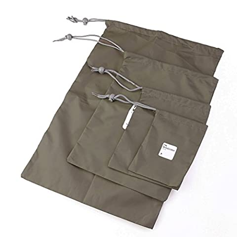 UEETEK 4pcs Waterproof Nylon Drawstring Dry Bags Pouches Organizers For Outdoor Travel in Different Sizes (Olive Green)