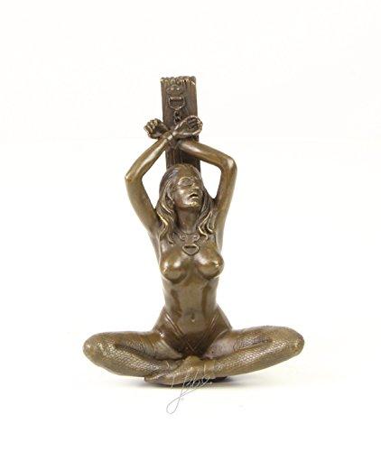 Ellas-Wohnwelt Bronzefigur Frau Akt Handschellen Erotik Nackt Gefesselt Geknebelt