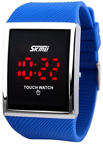 tarshow impermeabile touch screen digitale LED Bambini Sport Casual orologi da polso (Blu)