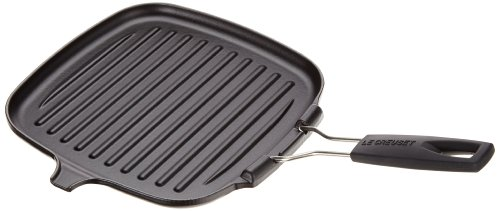 Le Creuset Gusseisen Grillpfanne quadratisch mit Klappgriff 24 cm, schwarz