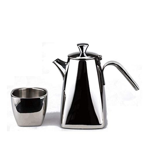 Caffettiera JXLBB Specchio Bella Mano 600ml + Doppia Bottiglia di Acqua della Tazza in Acciaio Inox Set Boutique caffè Master Pot Gru Bocca pentola Piatto Quadrato