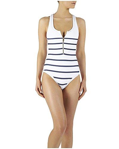 Costume Da Bagno un Pezzo Estate Spiaggia Donne Costumi Interi Bianca