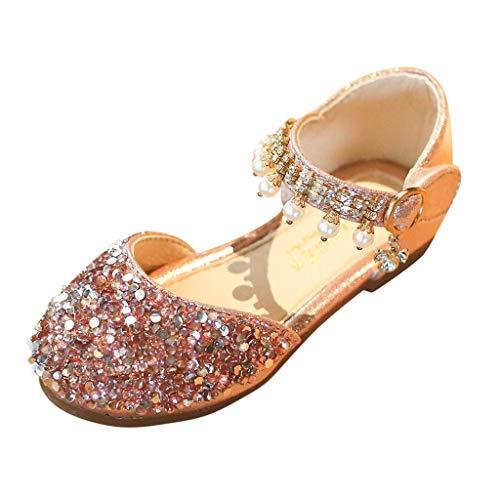 CixNy Tanzschuhe Kleinkind Sommer Mädchen Kinderschuhe Schuhe Einzelne Schuhe Weich Unterseite Perle Und Kristall Lederschuhe Lauflernschuhe Mädchen Prinzessin ()