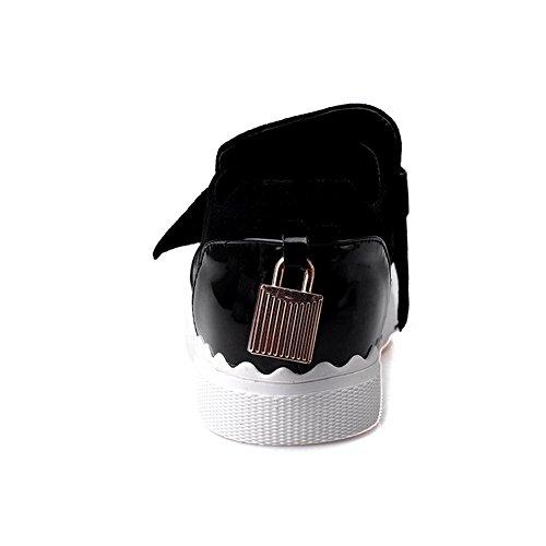 VogueZone009 Femme Rond à Talon Bas Matière Souple Couleur Unie Tire Chaussures Légeres Noir