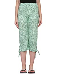 FflirtyGo Women's Comfort Capri, Night Pyjamas for Women, Night Dress, Lounge Wear, Green Color Printed 3/4 Pyjama,–Soft Cotton Night Wear