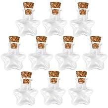 OULII Che desiderano bottiglia forma di stella Mini desiderio nota artigianato vetro bottiglie barattoli con tappo in sughero per fai da TE, arti mestieri, progetti, Natale decorazione, regalo di Natale, favori di partito, confezione da