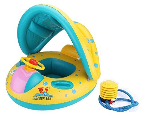 Schwimmring Schwimmweste kinder AKAUFENG Schwimmsitz Schwimmhilfe Schwimmreifen mit Sitz Sonnendach anbei Luftpumpe