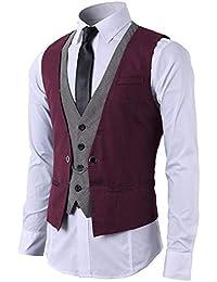 STTLZMC Mode Gilet Hommes Costume Veste sans Manches Business Casual Mariage