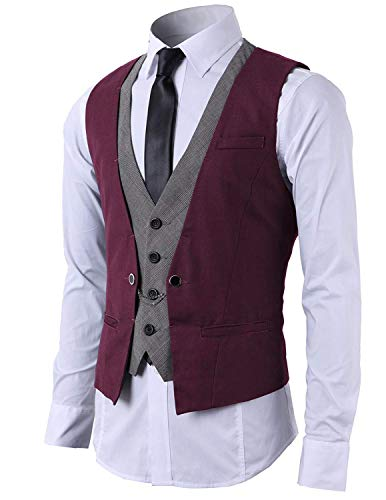 STTLZMC Mode Gilet Hommes Costume Veste sans Manches Business Casual Mariage Vin Rouge S