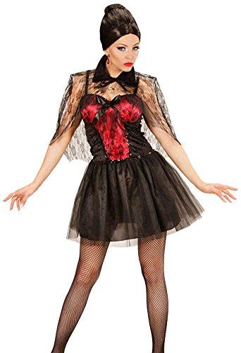 WIDMANN 02343 - Erwachsenenkostüm Vampir Lady, Kleid mit Umhang, Gröߟe L, schwarz