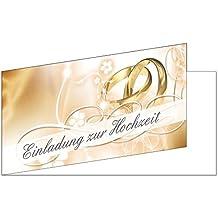 25 Stück Einladungskarten Zur Hochzeit (EKT 102) Format DIN Lang Einladungen  Ringe Trauung