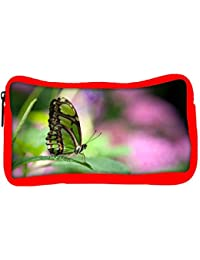 Snoogg Eco Friendly Canvas Green Butterfly Designer Student Pen Pencil Case Coin Purse Pouch Cosmetic Makeup Bag