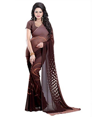 Heena Creation Georgette Saree (1Sr312Ds-7_Brown & White)