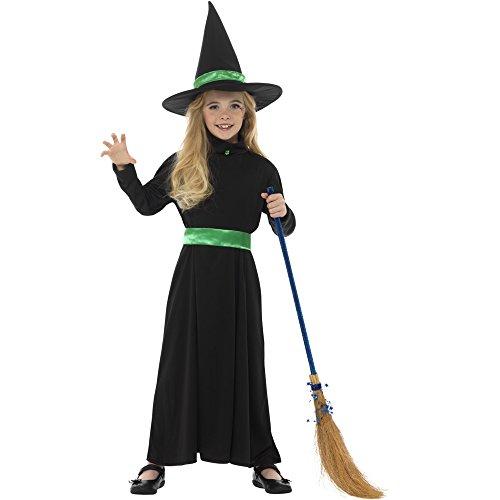 Oramics Hexenkostüm für Kinder, Verkleidung für Mädchen inklusive Hexenbesen, (Kostüme Hexe Verzauberte)