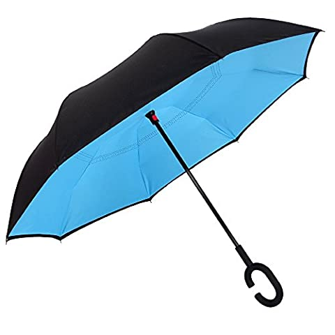 WILLIAM&KATE Double Reverse Inverted Sunny and Rain Dual Use Sunscreen Windproof Outdoor Car Umbrella