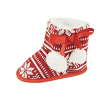 Glamour Girlz Baby Girls Boys Festive Slippers Booties Pram Shoes Christmas Pom Pom Fair Isle Snowflakes Red