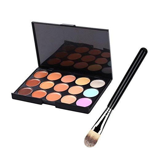 Greencolourful 15 Couleurs Foundation Professional Concealer Palette de Maquillage Avec 1 Fondation Pc Brush