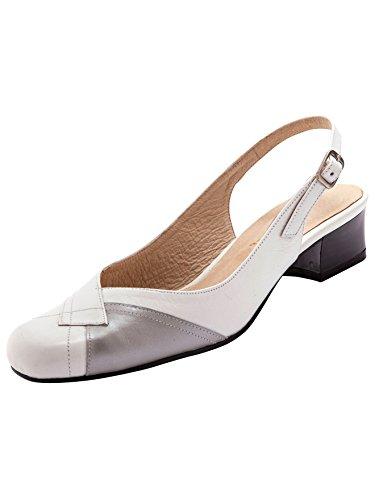 Blanc Gris 5 4 Sandale Femme Bicolores Di Cm Talon Pediconfort xwBRqFzn8