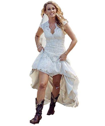 HotGirls High Low Brautkleider Spitze mit V-Ausschnitt mit kurzen Ärmeln Brautkleider (Weißes High Low Brautkleid)