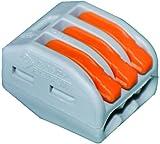 Wago 222-413 - Morsetto per 3 conduttori con leve di bloccaggio, 0.08 fino a 4 qmm, Confezione da 50