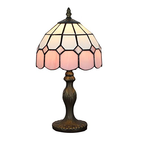 Gweat 8-Inch Mittelmeer Tiffany Stil Bernstein Tischlampe Nachttischlampe (4 Farben für wählen) -