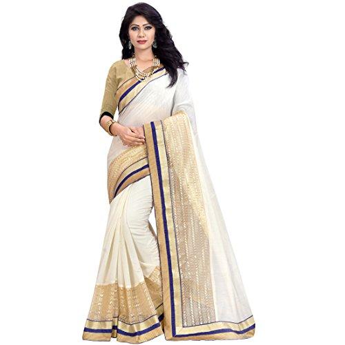 Pramukh Suppliers Women\'s Cotton Silk Saree With Blouse Piece (Net_Nb_ Sarees_Off White)