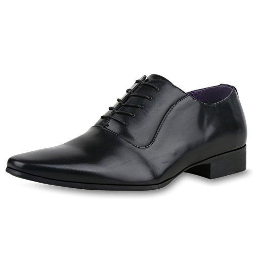 SCARPE VITA Herren Klassische Business Schnürer Schnürschuhe Leder-Optik Schuhe 161098 Schwarz 44
