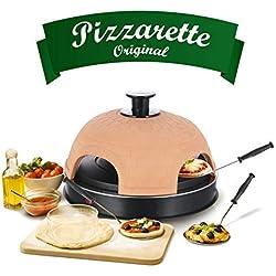 Emerio PO-115985 Four à pizza Pizzarette original en terre cuite faite à la main pour mini pizza, véritable jeu familial pour 4 personnes